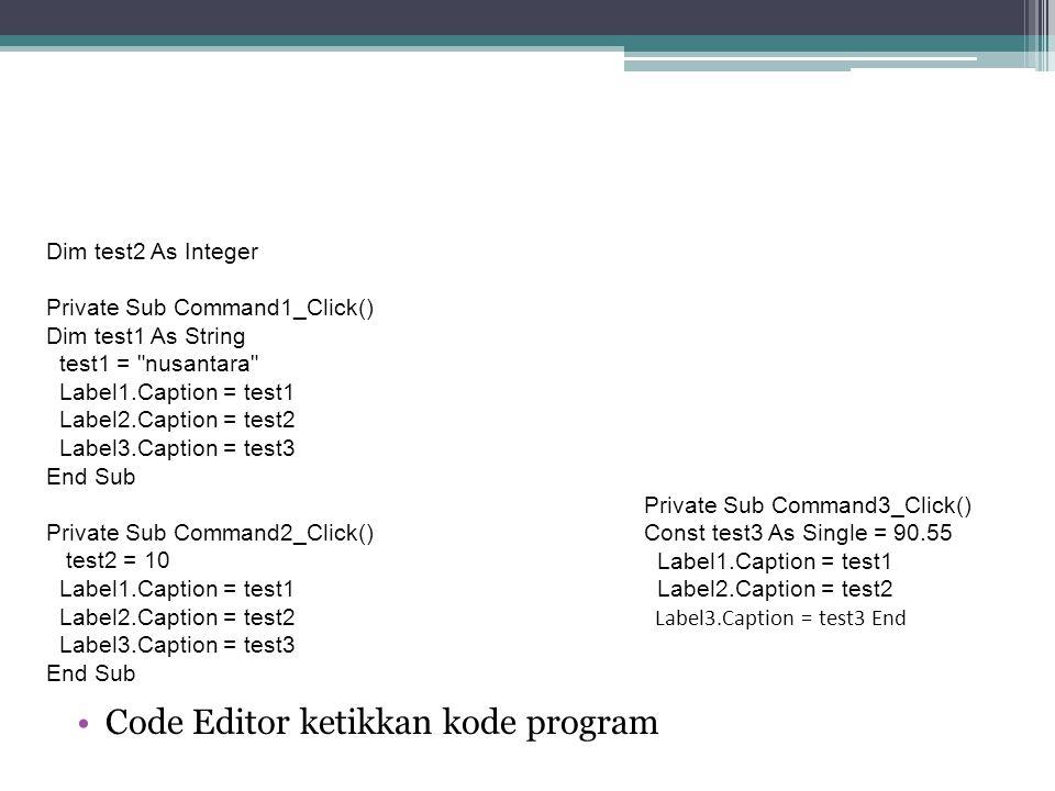 Code Editor ketikkan kode program