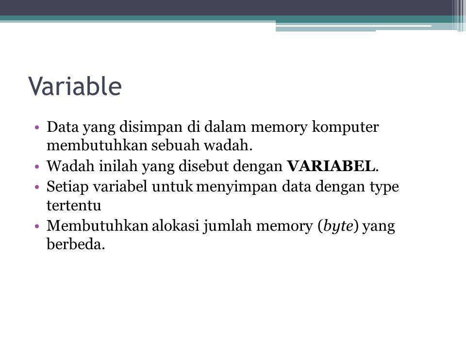 Variable Data yang disimpan di dalam memory komputer membutuhkan sebuah wadah. Wadah inilah yang disebut dengan VARIABEL.