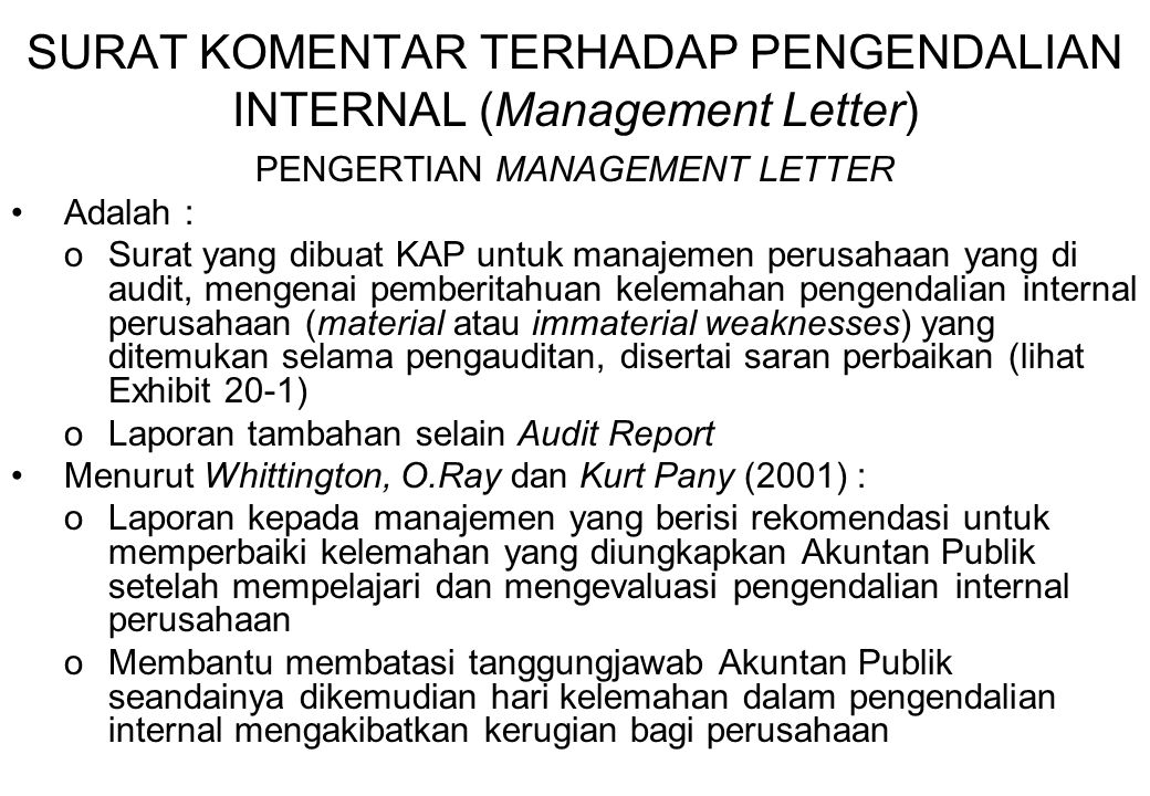 SURAT KOMENTAR TERHADAP PENGENDALIAN INTERNAL (Management Letter)