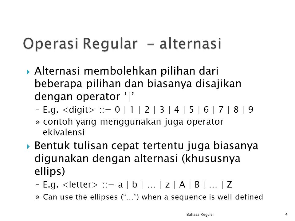Operasi Regular - alternasi