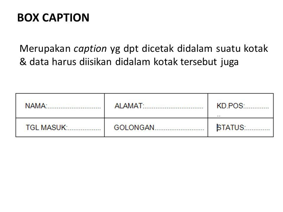 BOX CAPTION Merupakan caption yg dpt dicetak didalam suatu kotak & data harus diisikan didalam kotak tersebut juga.