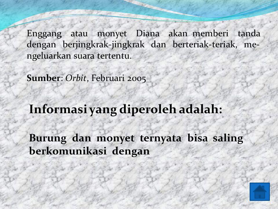 Informasi yang diperoleh adalah: