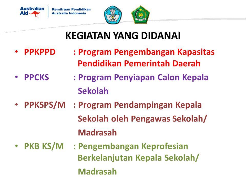KEGIATAN YANG DIDANAI PPKPPD : Program Pengembangan Kapasitas Pendidikan Pemerintah Daerah. PPCKS : Program Penyiapan Calon Kepala.