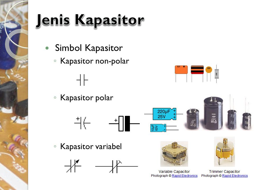 Jenis Kapasitor Simbol Kapasitor Kapasitor non-polar Kapasitor polar