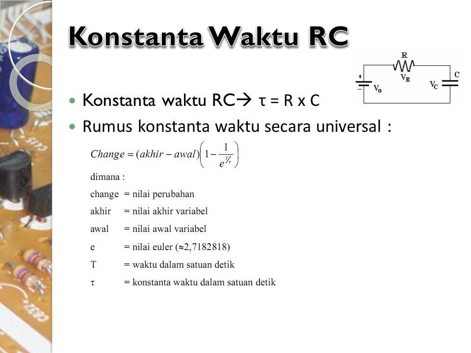 Konstanta Waktu RC Konstanta waktu RC τ = R x C