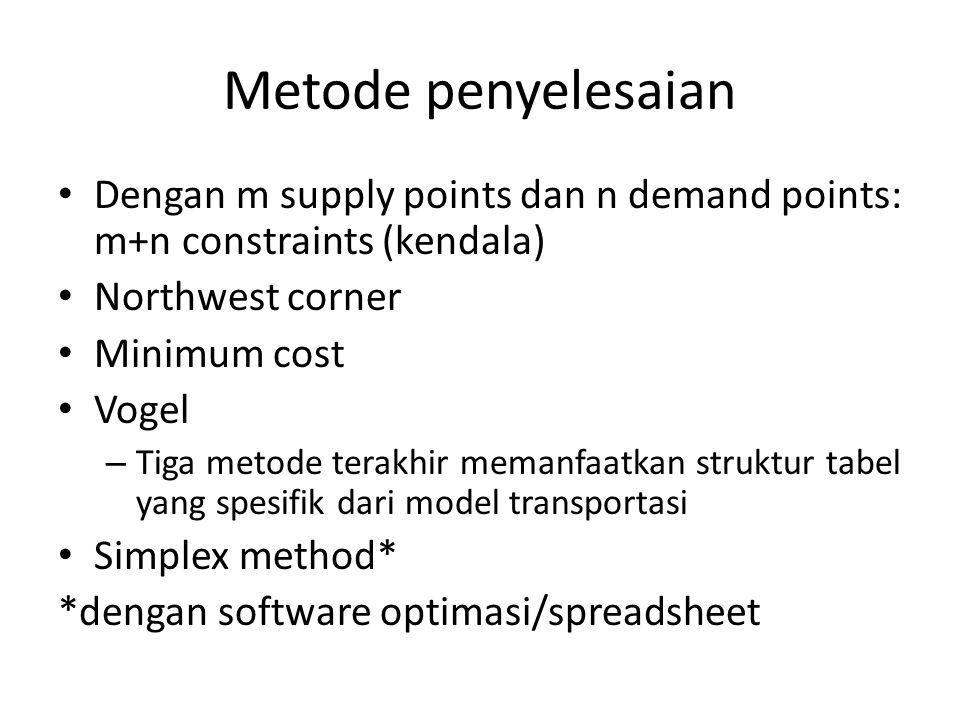 Metode penyelesaian Dengan m supply points dan n demand points: m+n constraints (kendala) Northwest corner.