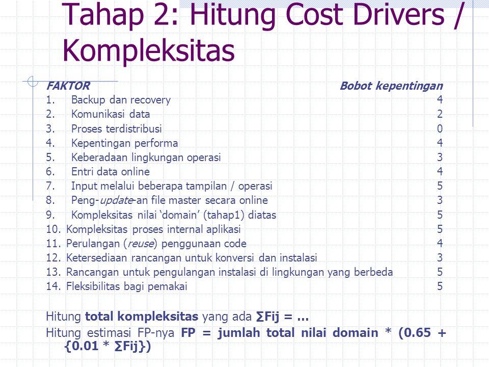 Tahap 2: Hitung Cost Drivers / Kompleksitas