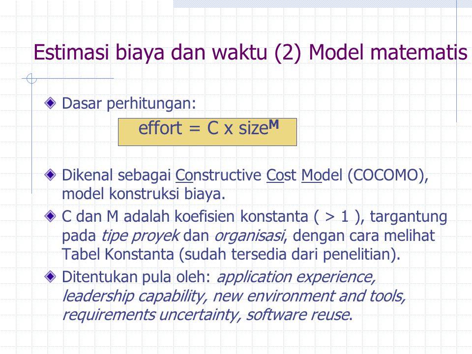 Estimasi biaya dan waktu (2) Model matematis