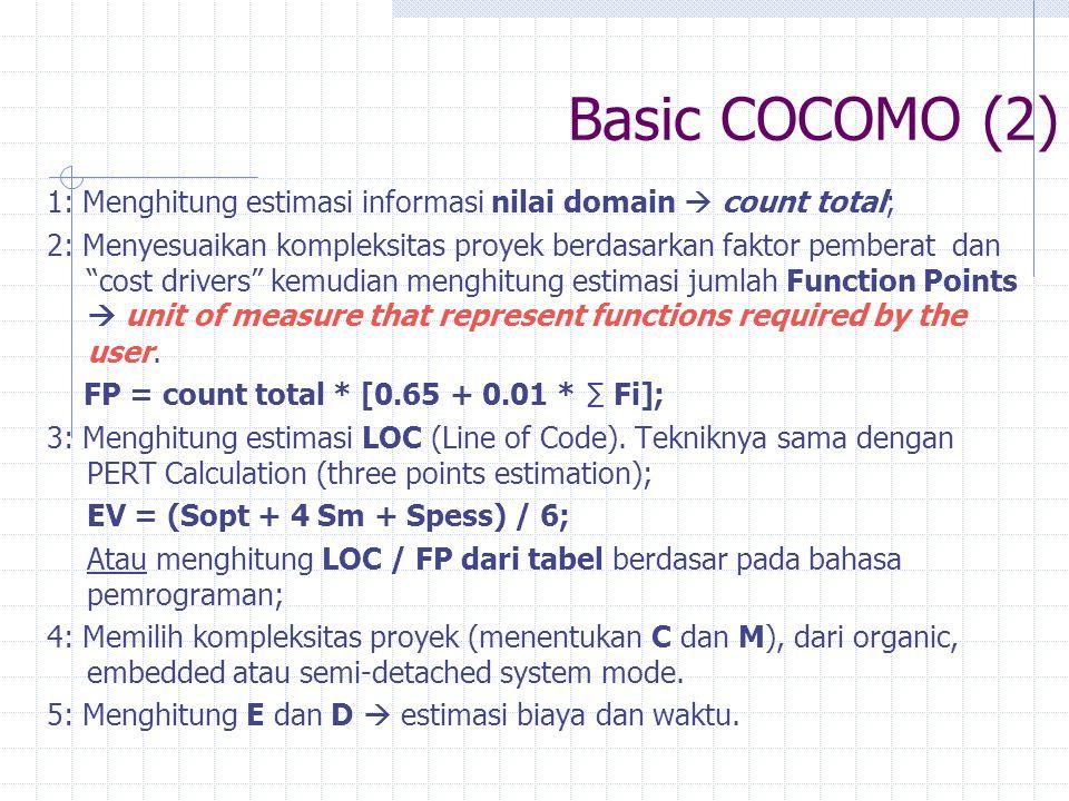 Basic COCOMO (2) 1: Menghitung estimasi informasi nilai domain  count total;