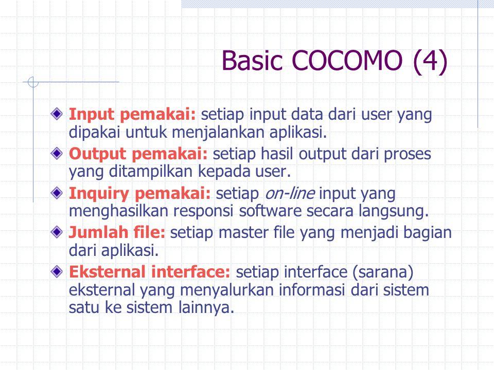 Basic COCOMO (4) Input pemakai: setiap input data dari user yang dipakai untuk menjalankan aplikasi.
