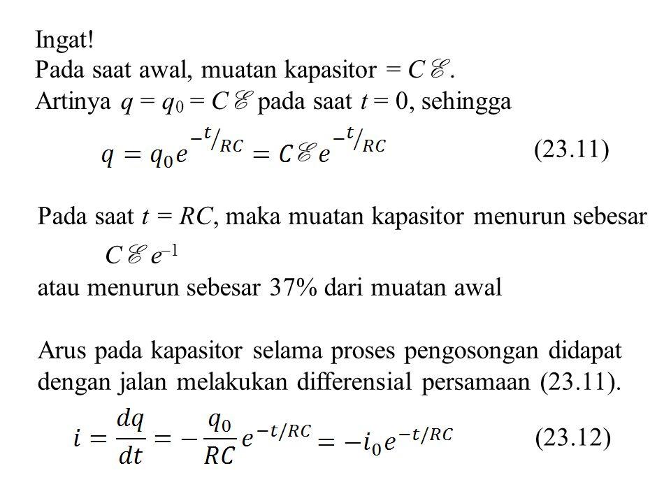 Ingat! Pada saat awal, muatan kapasitor = CE . Artinya q = q0 = CE pada saat t = 0, sehingga. (23.11)