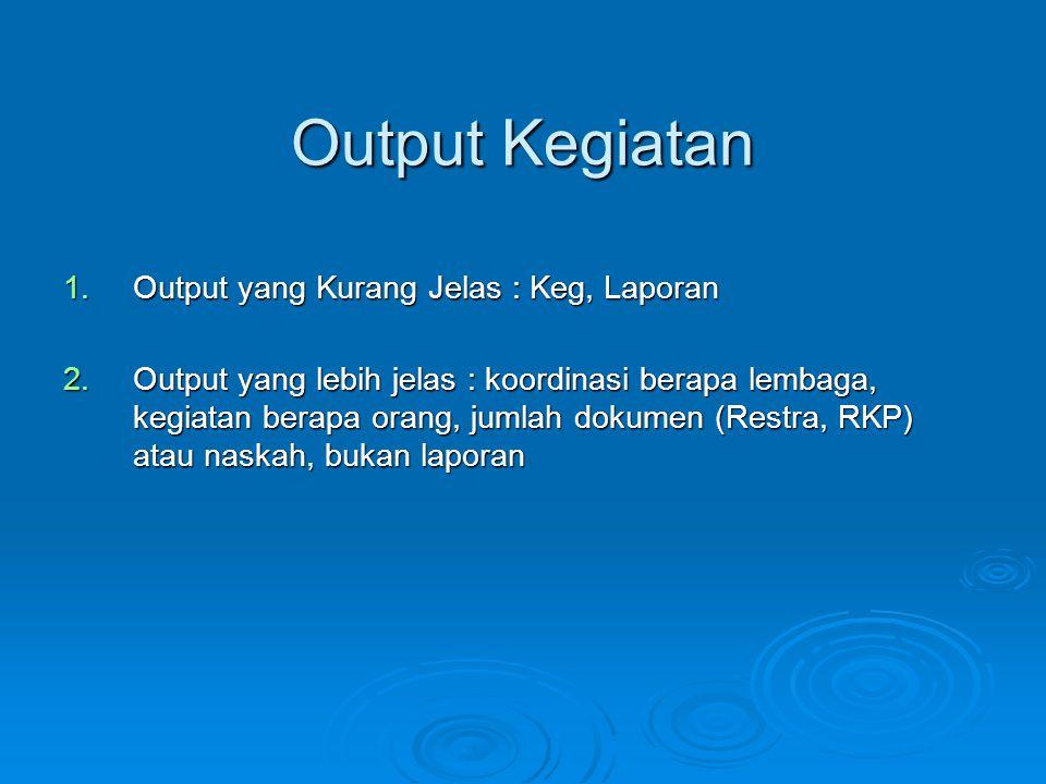 Output Kegiatan Output yang Kurang Jelas : Keg, Laporan