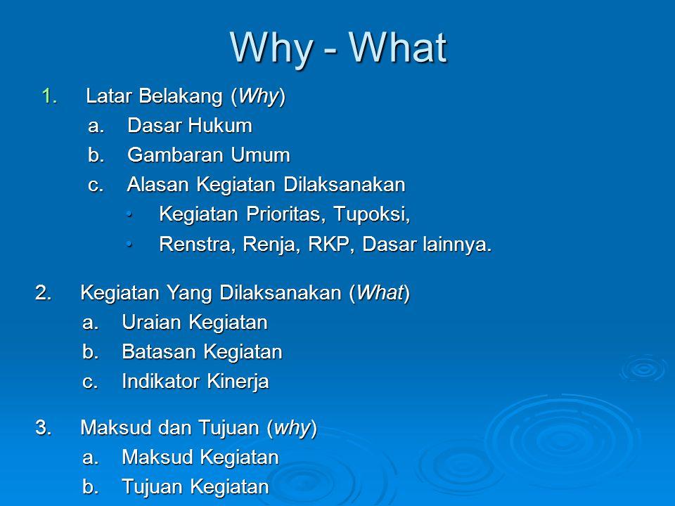Why - What Latar Belakang (Why) Dasar Hukum Gambaran Umum