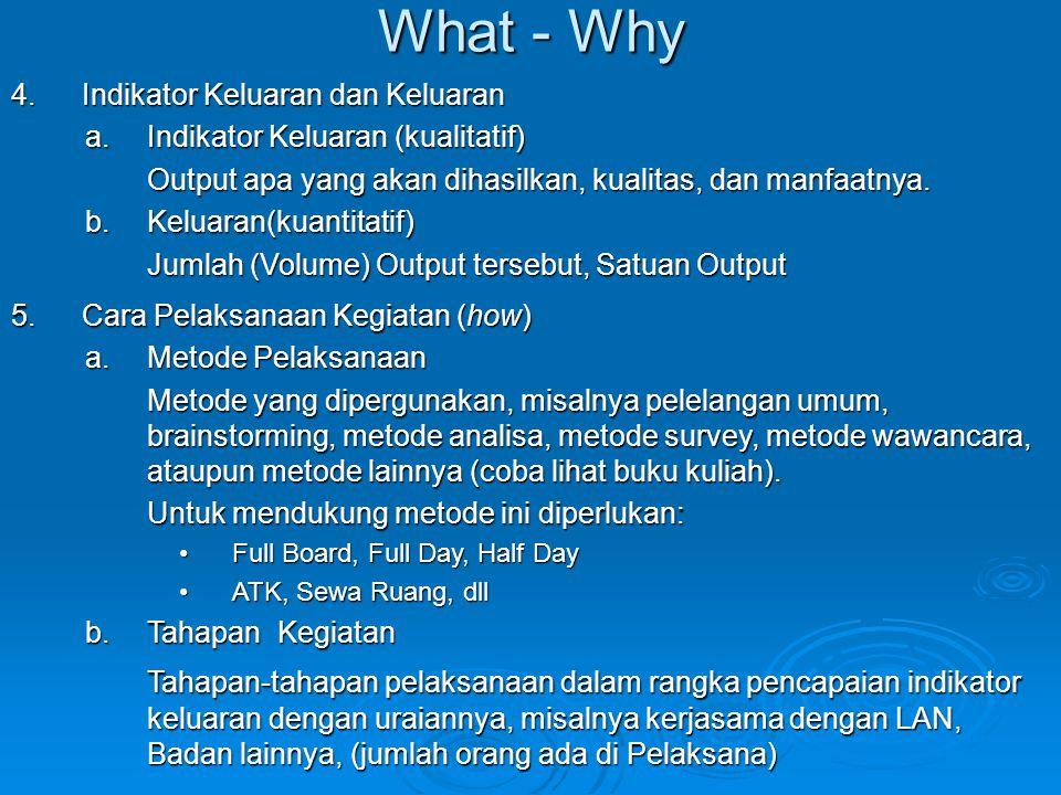 What - Why Indikator Keluaran dan Keluaran. Indikator Keluaran (kualitatif) Output apa yang akan dihasilkan, kualitas, dan manfaatnya.