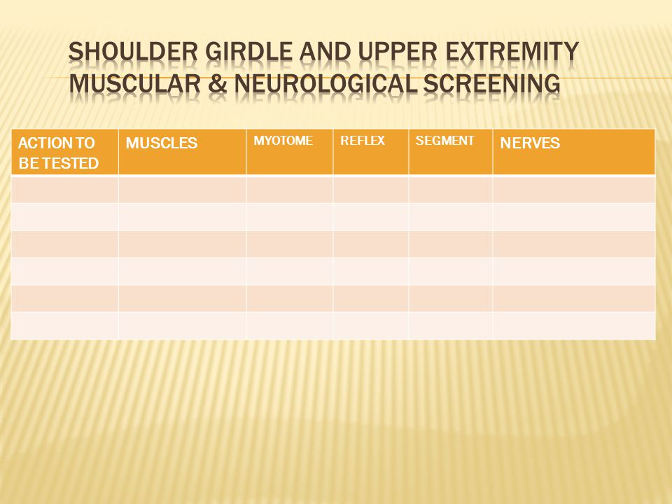 SHOULDER GIRDLE AND UPPER EXTREMITY MUSCULAR & NEUROLOGICAL SCREENING