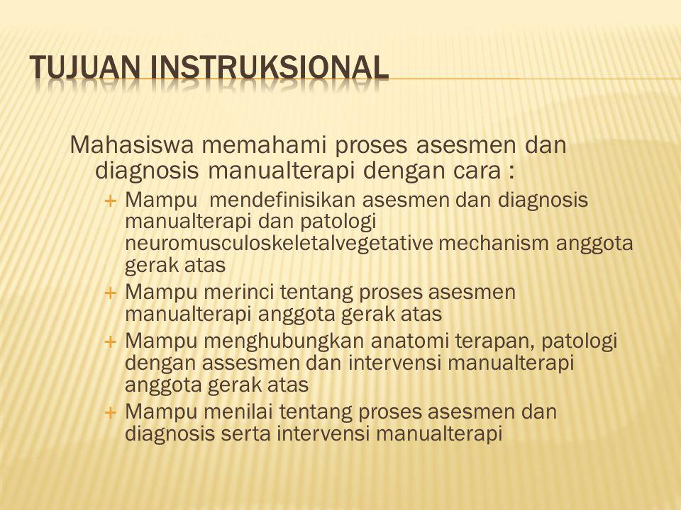 TUJUAN INSTRUKSIONAL Mahasiswa memahami proses asesmen dan diagnosis manualterapi dengan cara :