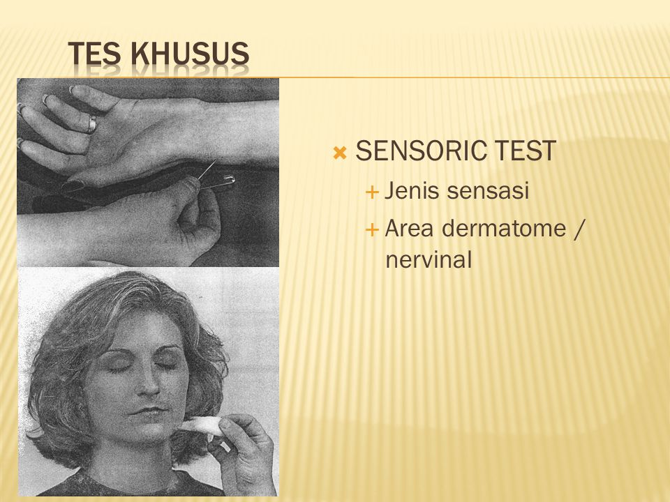 TES KHUSUS SENSORIC TEST Jenis sensasi Area dermatome / nervinal