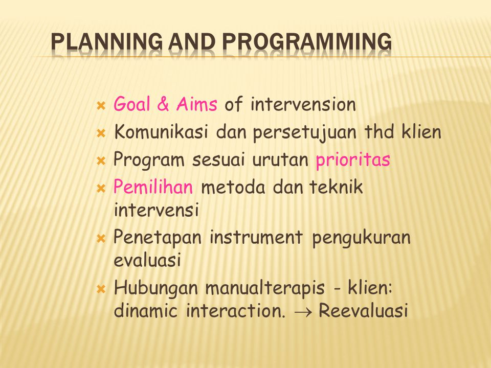 PLANNING AND PROGRAMMING