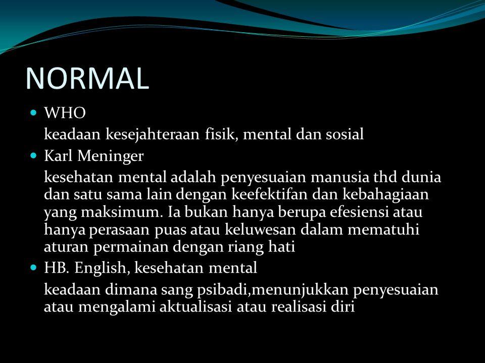 NORMAL WHO keadaan kesejahteraan fisik, mental dan sosial