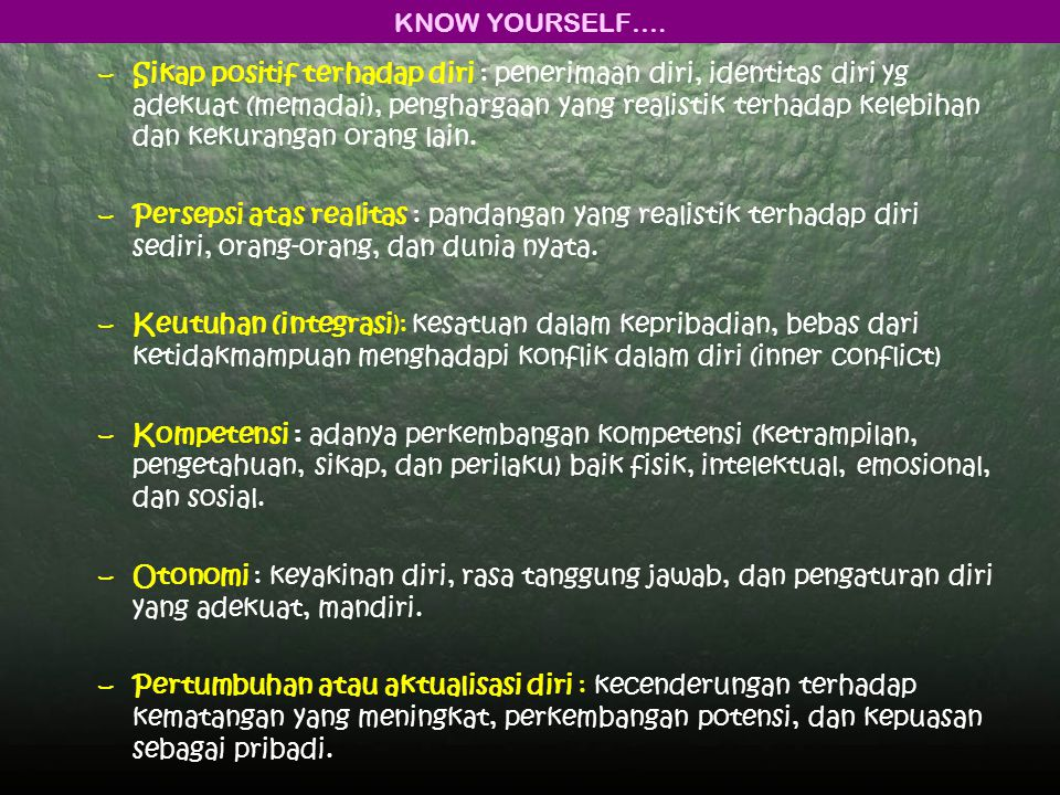 KNOW YOURSELF….