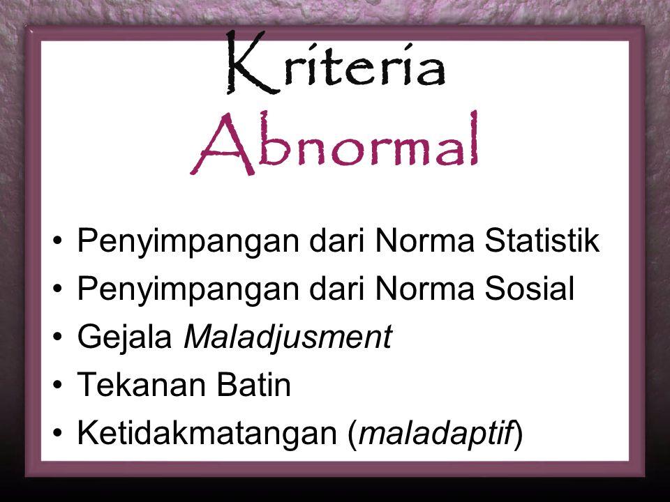 Kriteria Abnormal Penyimpangan dari Norma Statistik