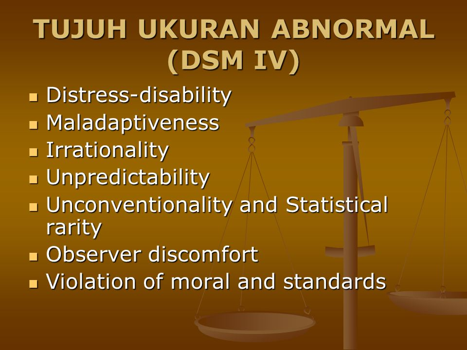 TUJUH UKURAN ABNORMAL (DSM IV)