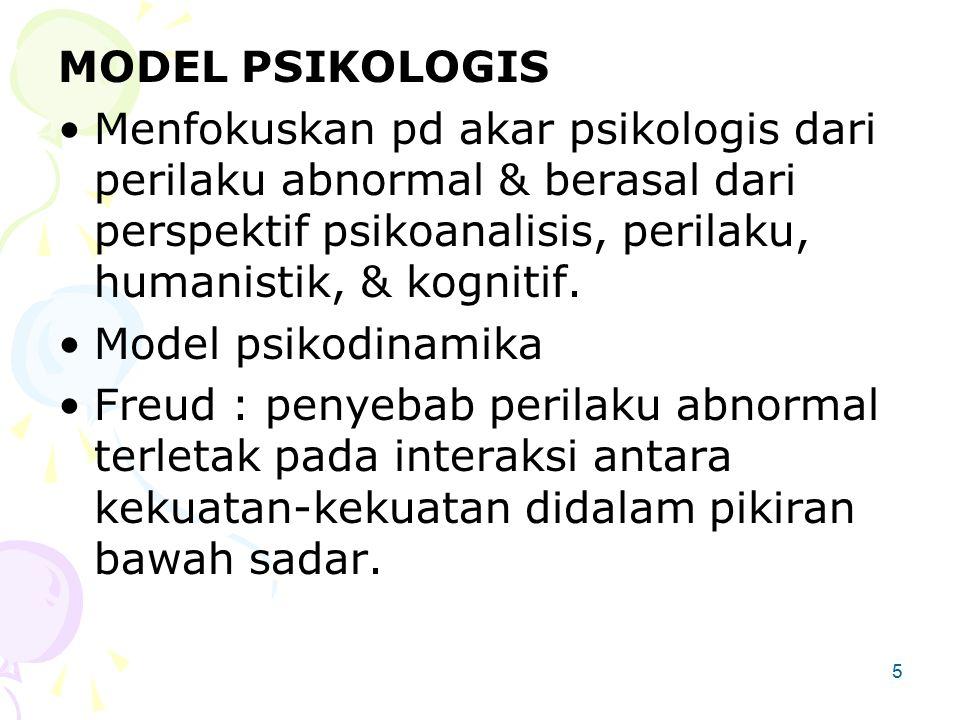 MODEL PSIKOLOGIS Menfokuskan pd akar psikologis dari perilaku abnormal & berasal dari perspektif psikoanalisis, perilaku, humanistik, & kognitif.