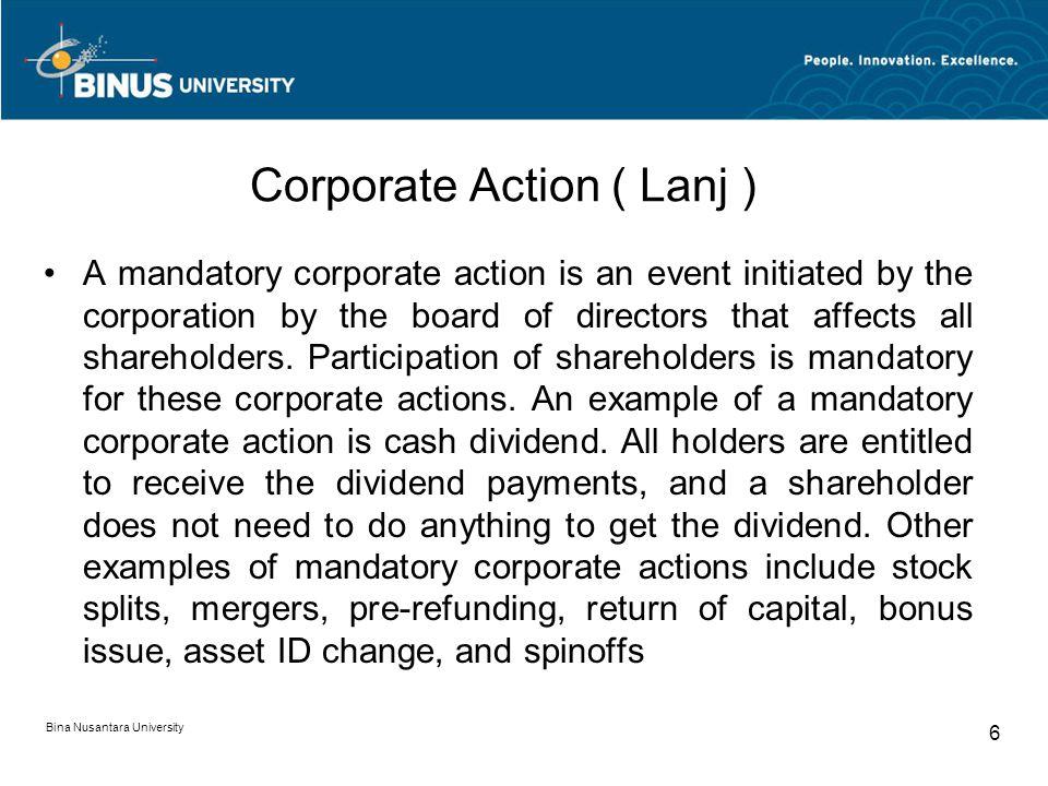 Corporate Action ( Lanj )