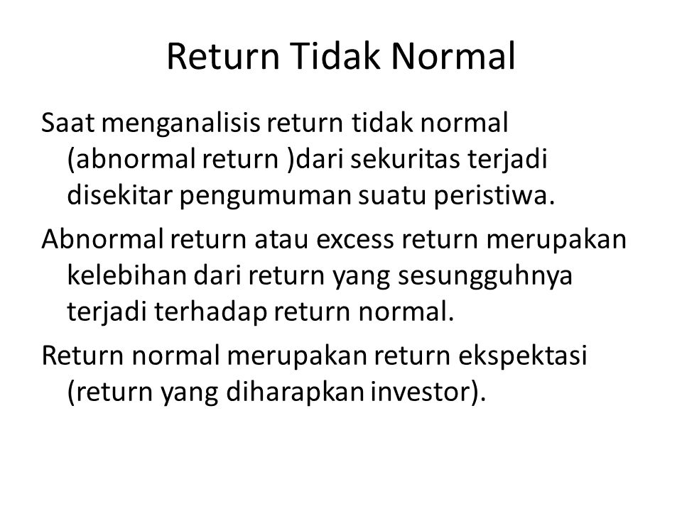 Return Tidak Normal