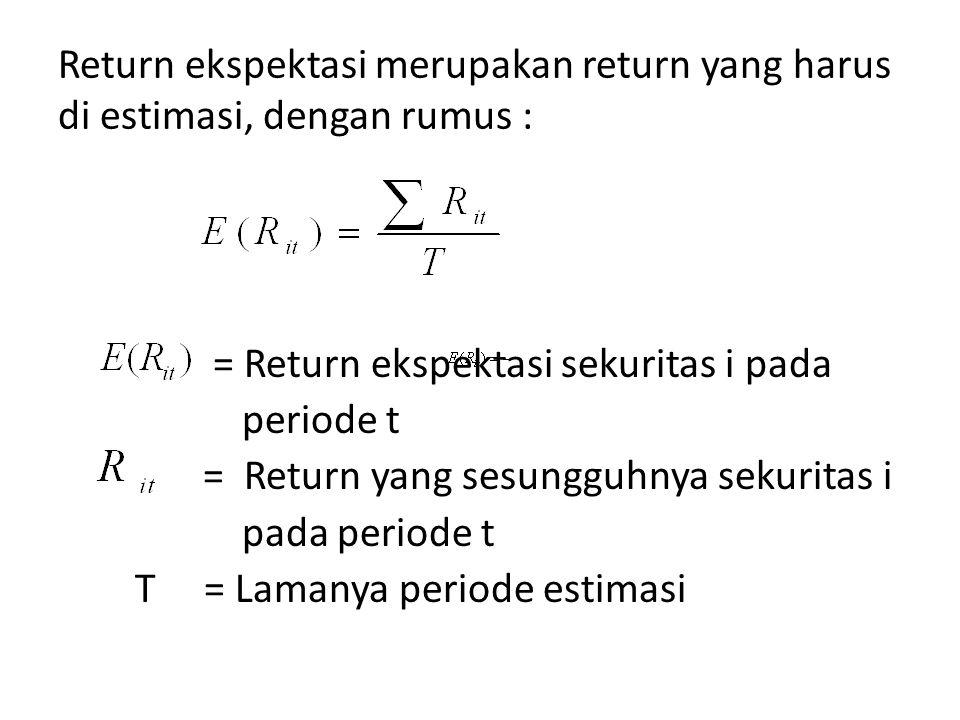 Return ekspektasi merupakan return yang harus di estimasi, dengan rumus :