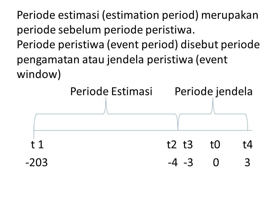 Periode estimasi (estimation period) merupakan periode sebelum periode peristiwa. Periode peristiwa (event period) disebut periode pengamatan atau jendela peristiwa (event window)