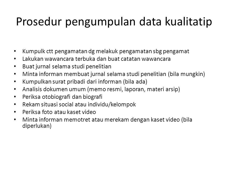 Prosedur pengumpulan data kualitatip
