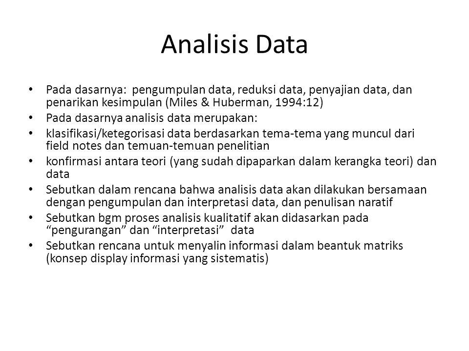 Analisis Data Pada dasarnya: pengumpulan data, reduksi data, penyajian data, dan penarikan kesimpulan (Miles & Huberman, 1994:12)