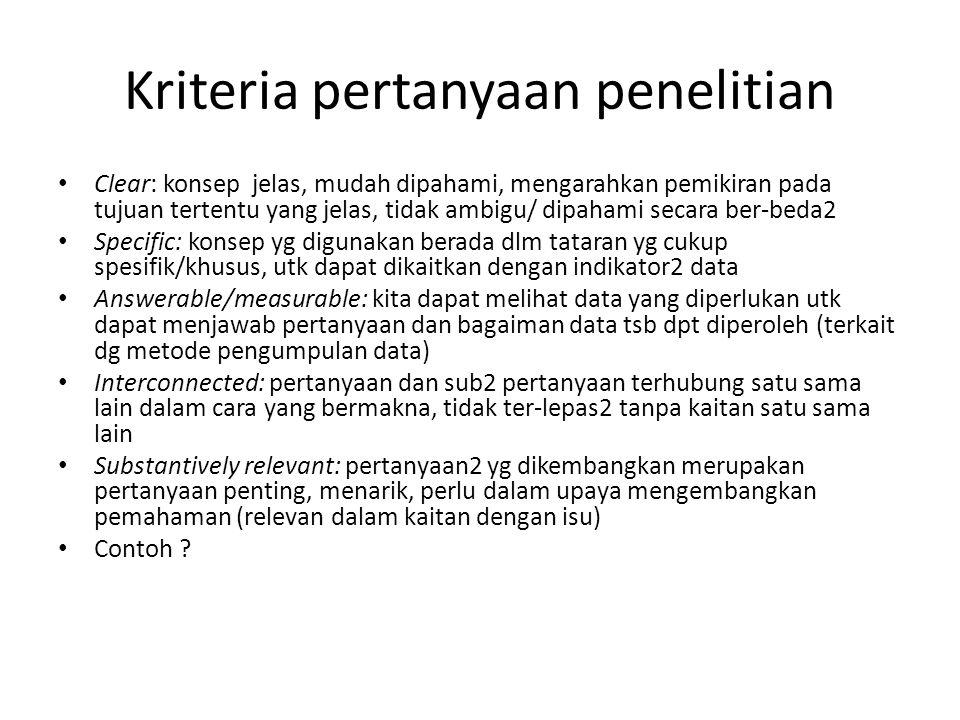 Kriteria pertanyaan penelitian