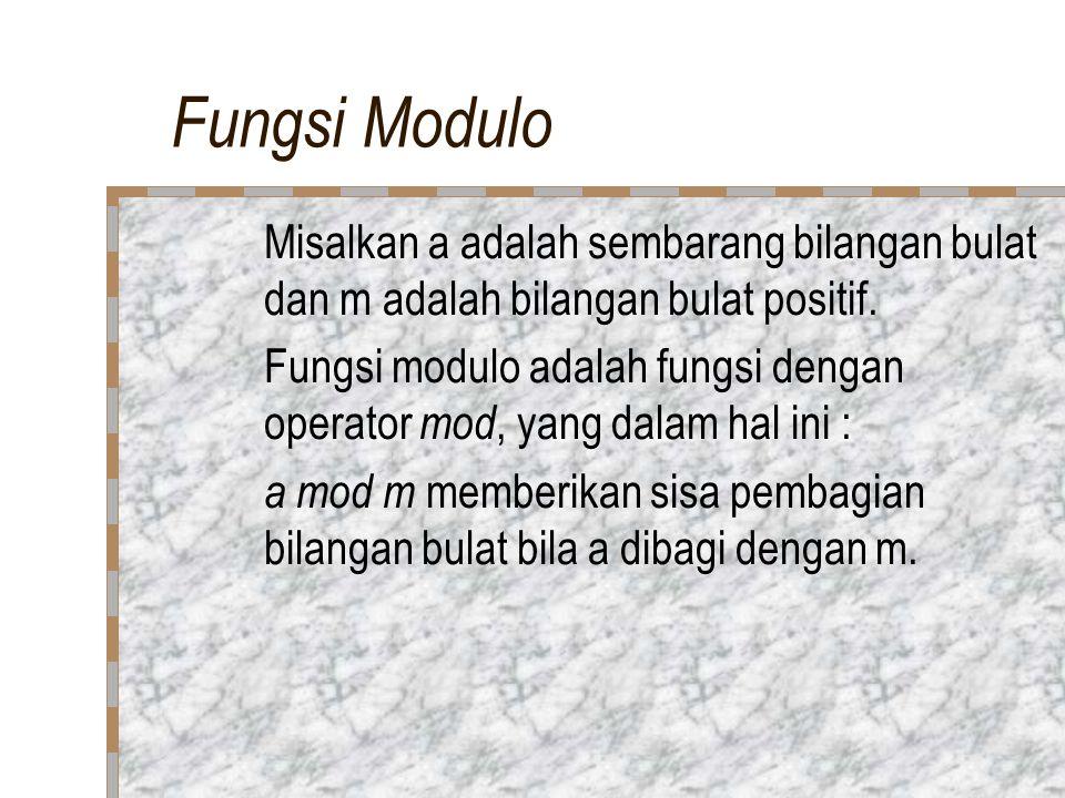 Fungsi Modulo Misalkan a adalah sembarang bilangan bulat dan m adalah bilangan bulat positif.