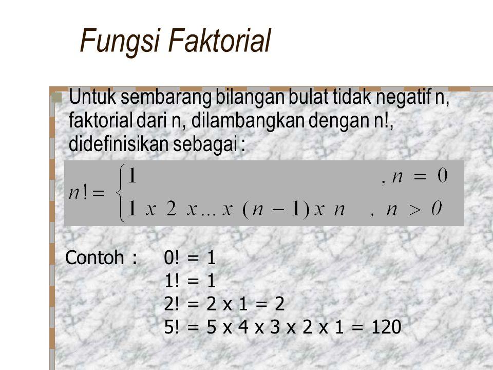 Fungsi Faktorial Untuk sembarang bilangan bulat tidak negatif n, faktorial dari n, dilambangkan dengan n!, didefinisikan sebagai :