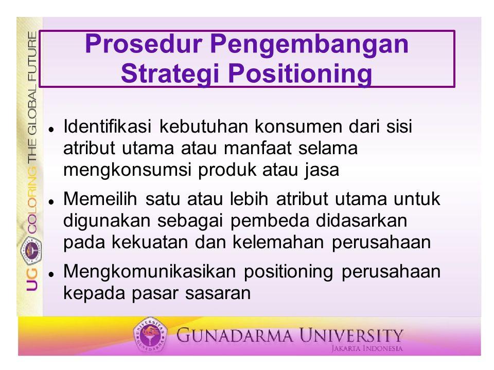 Prosedur Pengembangan Strategi Positioning