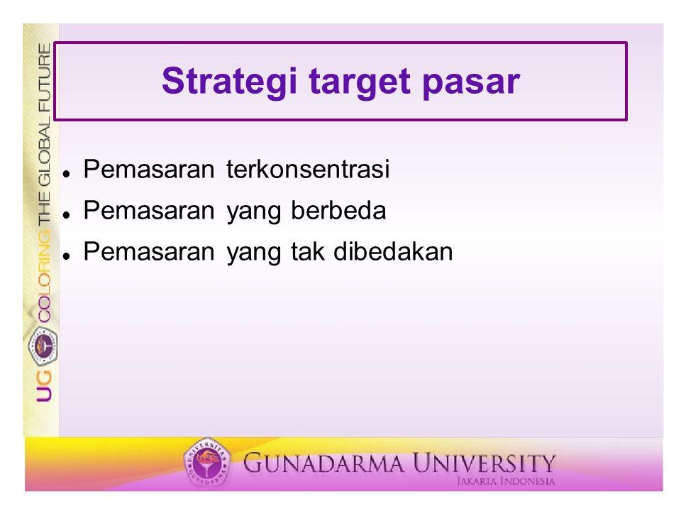 Strategi target pasar Pemasaran terkonsentrasi Pemasaran yang berbeda