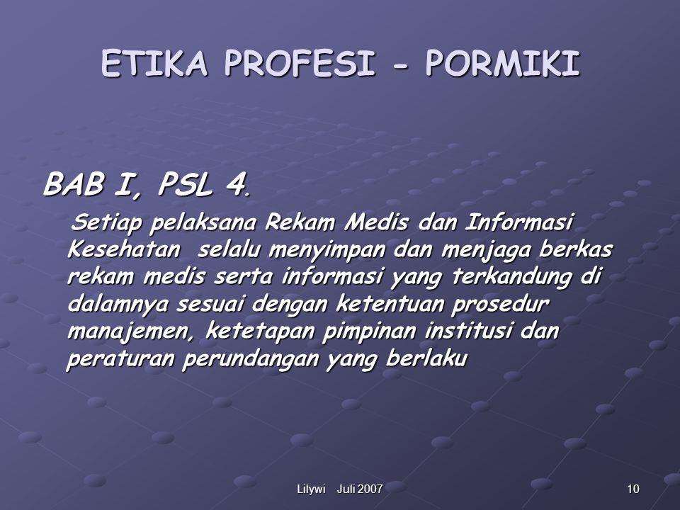 ETIKA PROFESI - PORMIKI