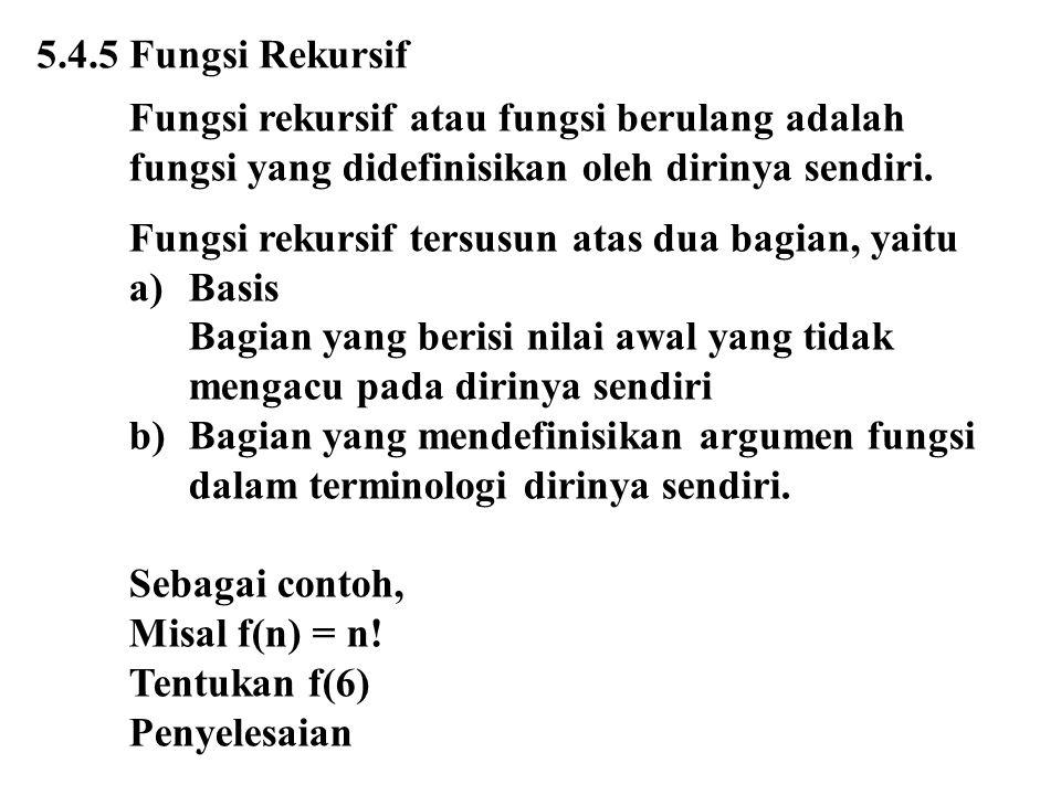 5.4.5 Fungsi Rekursif Fungsi rekursif atau fungsi berulang adalah. fungsi yang didefinisikan oleh dirinya sendiri.