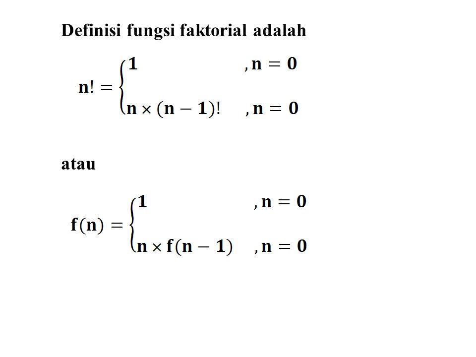 Definisi fungsi faktorial adalah