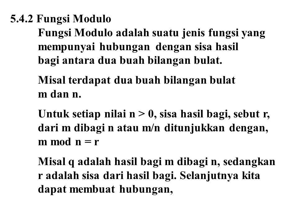 5.4.2 Fungsi Modulo Fungsi Modulo adalah suatu jenis fungsi yang. mempunyai hubungan dengan sisa hasil.