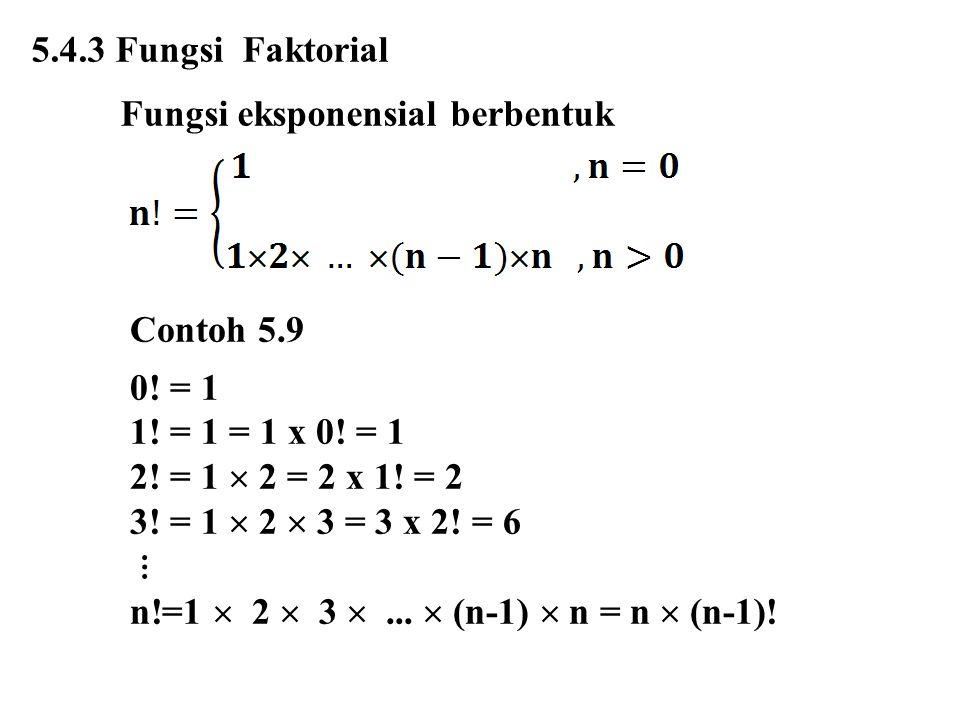 5.4.3 Fungsi Faktorial Fungsi eksponensial berbentuk. Contoh 5.9. 0! = 1. 1! = 1 = 1 x 0! = 1. 2! = 1  2 = 2 x 1! = 2.