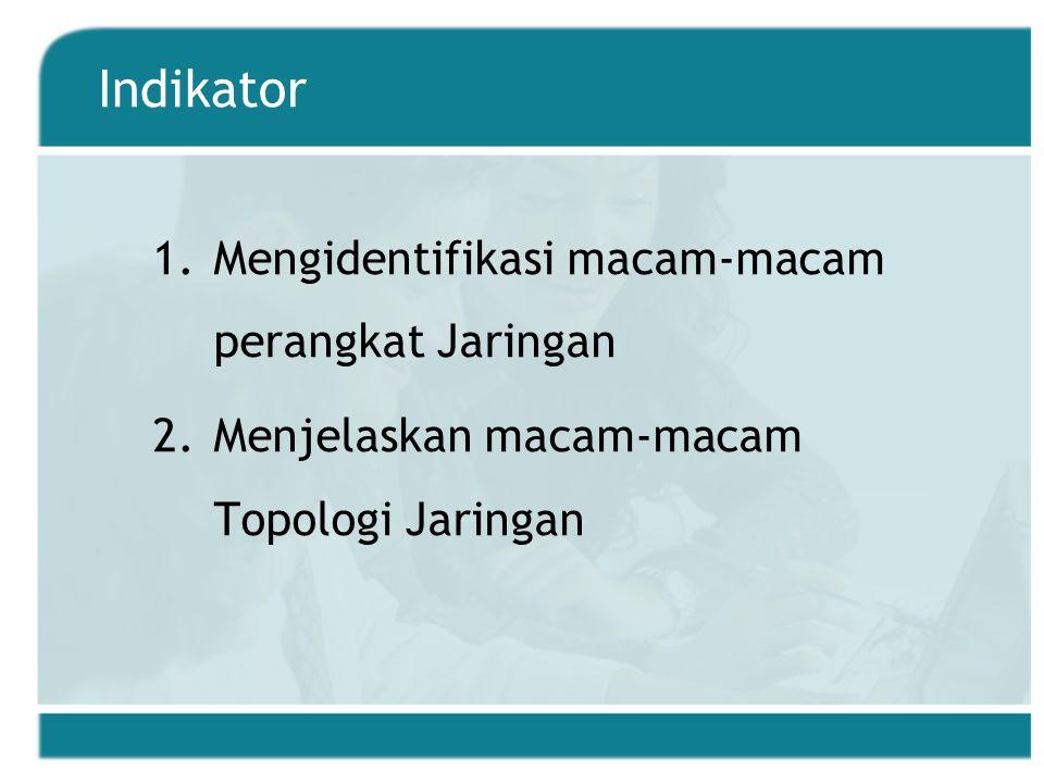 Indikator Mengidentifikasi macam-macam perangkat Jaringan