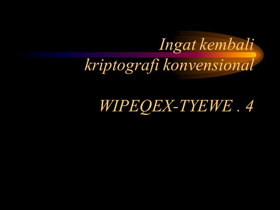 Ingat kembali kriptografi konvensional WIPEQEX-TYEWE . 4