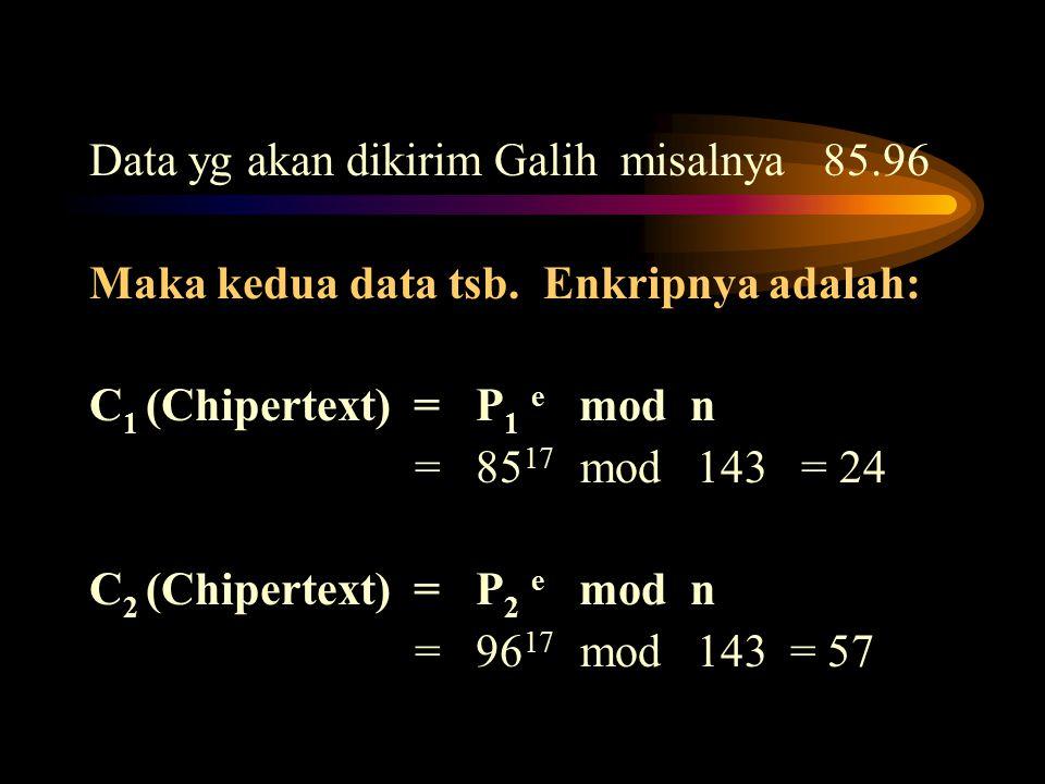 Data yg akan dikirim Galih misalnya 85.96