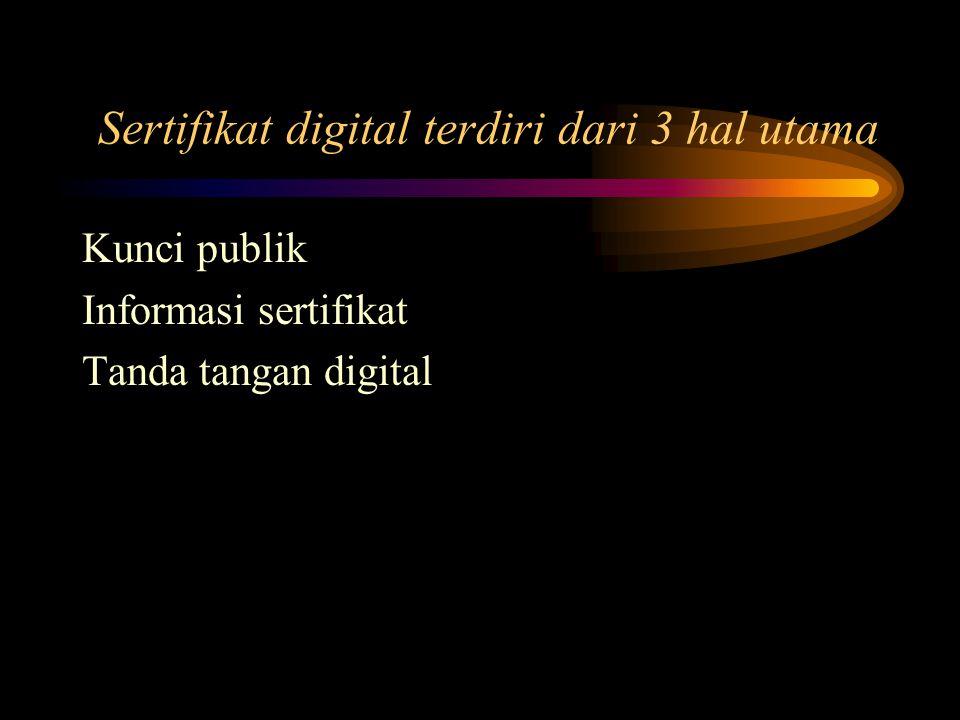 Sertifikat digital terdiri dari 3 hal utama