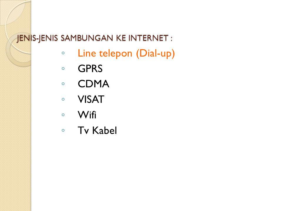 JENIS-JENIS SAMBUNGAN KE INTERNET :