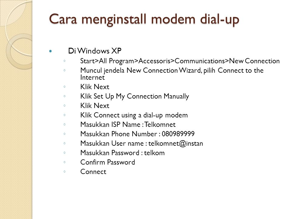 Cara menginstall modem dial-up