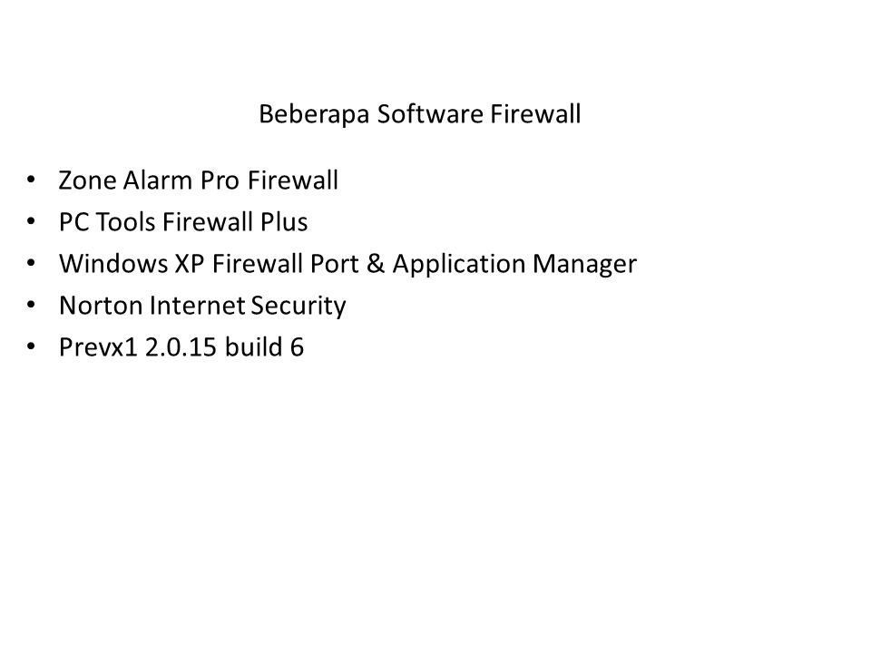 Beberapa Software Firewall